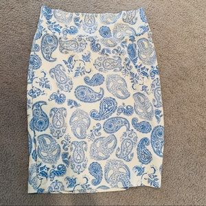 LulaRoe Cassie Blue and White Pencil Skirt